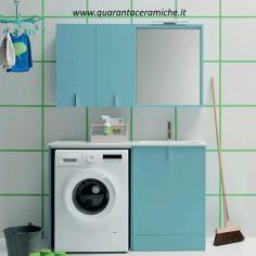 Mobile lavatoio Arbi Home Laundry L131xP51,5 cm colore Aria opaco