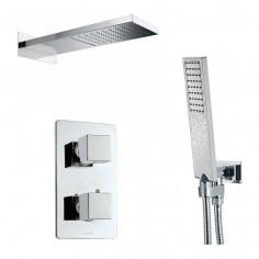 Bossini Kit soffione Manatthan 2 doccetta Flat e miscelatore termostatico Cube a 3 vie