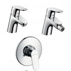 Hansgrohe Focus miscelatore monocomando lavabo 31730, bidet 31920 e doccia incasso completa 31966