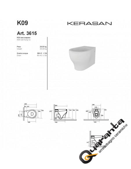 Kerasan K09 vaso sospeso completo di coprivaso
