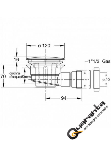 Sifone per p.doccia 90mm in polypropylene