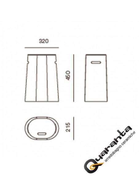 Mini nest sgabello - porta biancherie in ecopelle nero