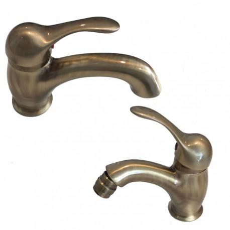 Kit miscelatore lavabo e bidet bronzo Twiggy