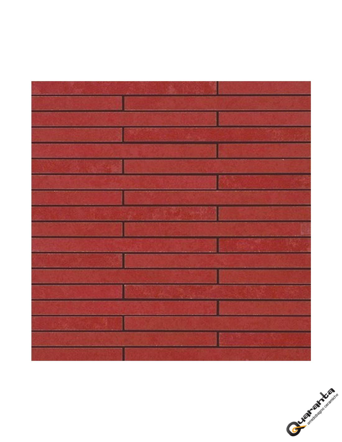 Rivestimento mosaico quaranta ceramiche oficina 7 rosso - Bagno mosaico rosso ...