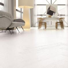 "Prefinished parquet Oak Michelangelo Absolute white ""listone 140 naturplus2 fibramix"" Listone Giordano"