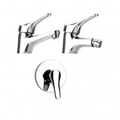 Paini Pilot basin and bidet taps with single lever shower mixer