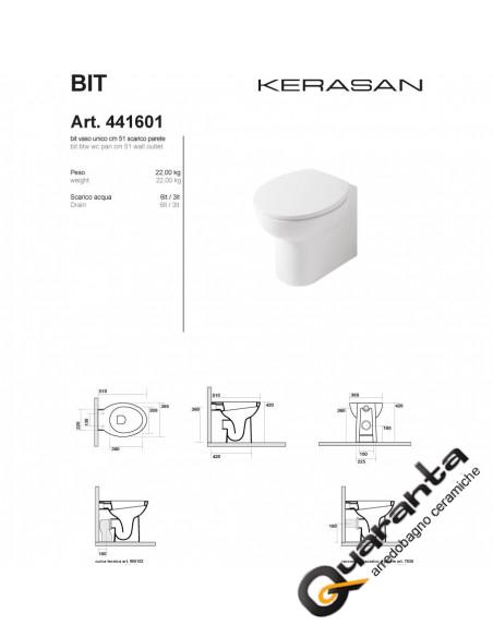 Kerasan Bit vaso filo muro completo di sedile soft close