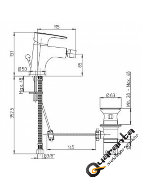 Paini Smart kit miscelatore lavabo, bidet e doccia incasso con deviatore