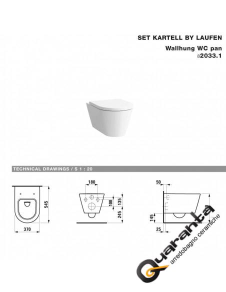 Laufen Kartell kit sospeso vaso, bidet e coprivaso rallentato