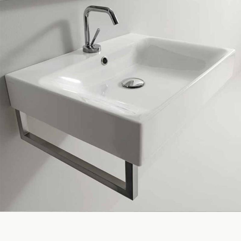 lavabo in ceramica sospeso rettangolare cm 120 kerasan serie cento con portasciugamani frontale. Black Bedroom Furniture Sets. Home Design Ideas