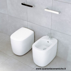 Flaminia Monò back to wall toilet pan with soft close seat and bidet