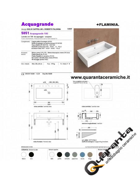 Flaminia Acquagrande lavabo sospeso o da appoggio cm 100