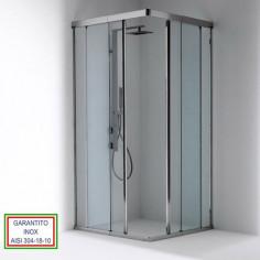 Box doccia Oasi 2 con apertura scorrevole in angolo con profili inox e cristallo 8 mm Bianchi e Fontana