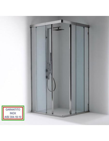 Box doccia Oasi 2 con apertura scorrevole in angolo con profili inox e cristallo 8 mm