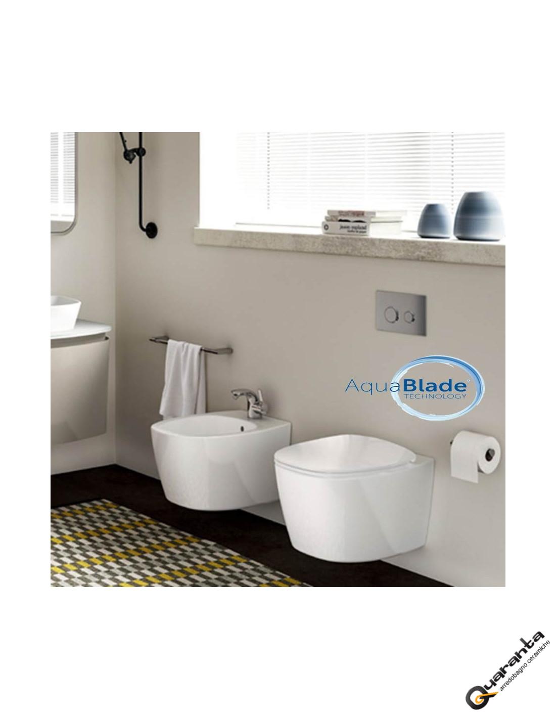 Ideal standard dea sanitari sospesi vaso aquablade con for Sanitari ideal standard
