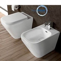 Sanitärkeramik mit Wandanschluss Ideal Standard Tonic II WC AquaBlade, Bidet und Toilettensitz mit Slow Close Funktion