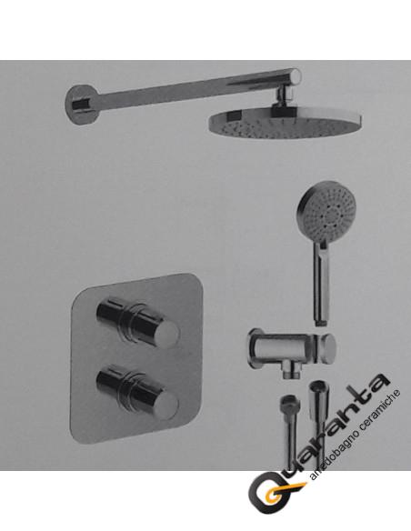 Termostatico doccia incasso con deviatore ceramico due uscite con soffione e doccetta, miscelatore lavabo e miscelatore bidet