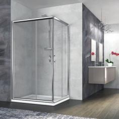 Box doccia rettangolare Nolan 80x100 cristallo trasparente 6 mm altezza 185 cm
