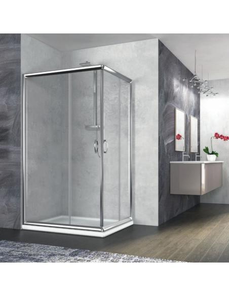 Zaffiro box doccia rettangolare 80x140 cristallo trasparente 6 mm altezza 190 cm