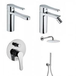 Bongio O'clock miscelatore lavabo, bidet, doccia incasso con deviatore e soffione con doccetta