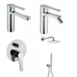Bongio O'clock basin and bidet taps, shower mixer with diverter, head shower and hand shower