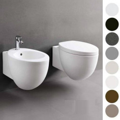 Cielo Le Giare wall hung MATT WHITE toilet pan with soft close seat and bidet