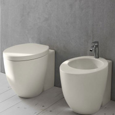 Cielo Le Giare back to wall MATT WHITE toilet pan with soft close seat and bidet