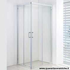Box doccia rettangolare Slim 80x100 cristallo stampato 6 mm altezza 185 cm