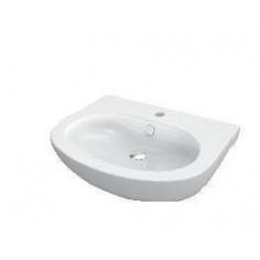 Lavabo monoforo Pop/Easy bianco con semicolonna