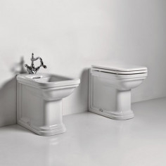 Kerasan Waldorf back to wall toilet pan with soft-close seat and bidet