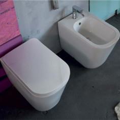 Sanitari filo muro Kerasan Tribeca vaso bidet coprivaso slim softclose