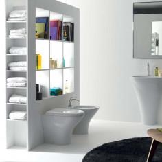 Sanitärkeramik mit Wandanschluss Kerasan Aquatech WC Bidet Toilettensitz slim softclose