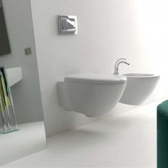 Kerasan Aquatech wall hung toilet pan with slim soft close seat and bidet