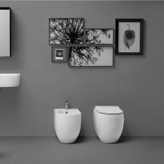 Sanitärkeramik mit Wandanschluss Kerasan Flo 48 WC Bidet Toilettensitz slim Slow Close