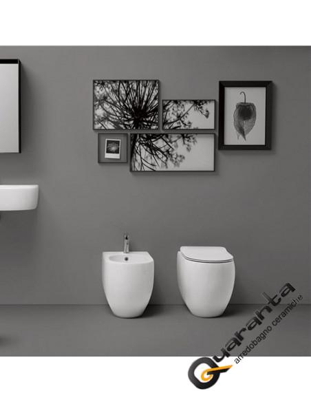 Kerasan Flo filo muro vaso, bidet e coprivaso slim soft close