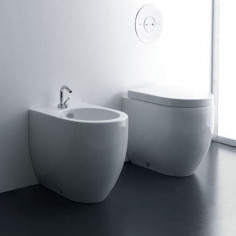 Kerasan Flo 56 back to wall toilet pan with wrap over seat and bidet
