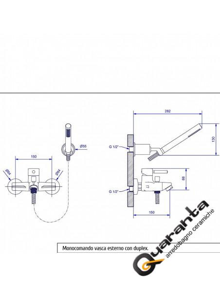 Bugnatese Kobuk miscelatore vasca esterno con doccia duplex