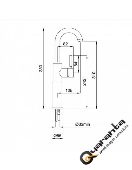 Bugnatese Kobuk kit miscelatore monocomando lavabo altoe bidet