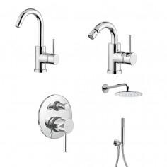 Bugnatese Kobuk miscelatore lavabo, bidet, doccia incasso con deviatore e soffione con doccetta