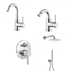 Bugnatese Kobuk basin tap, bidet tap, shower mixer with diverter, head shower and hand shower