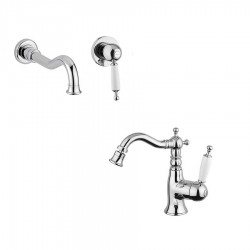 Bugnatese Oxford wall mounted single lever basin tap and bidet tap