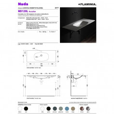 Flaminia Nudaflat 120 lavabo a consolle sospeso bianco opaco (latte)