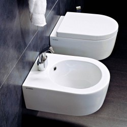 Flaminia Mini Link wall hung toilet pan with soft close wrap over seat and bidet