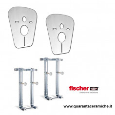 Fischer couple of support brackets and anti-noise membranes for wall mounted toilet and bidet