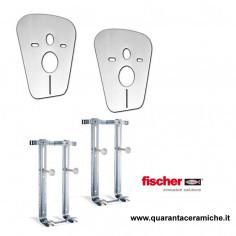 Fischer coppia di staffe e membrane antirumore per sanitari sospesi vaso e bidet