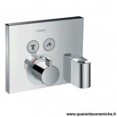 Hansgrohe ShowerSelect, set esterno termostatico ad incasso per 2 utenze con FixFit e Porter integrato