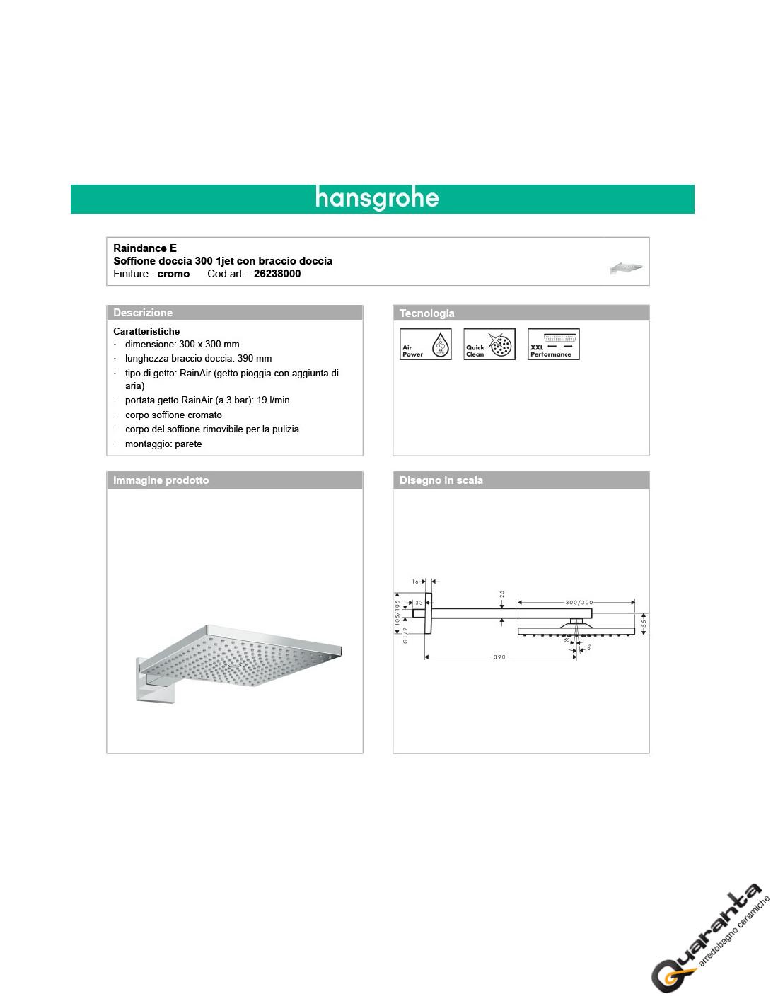 Hansgrohe 26238000 Soffione Doccia Quadro 30 X 30 Quaranta Ceramiche