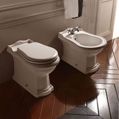 Kerasan Retrò back to wall toilet pan with walnut soft close seat and bidet
