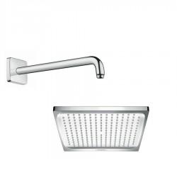 Hansgrohe Soffione doccia quadrato cm 24 Crometta E 240 a 1 getto + Braccio doccia da 38.9 cm