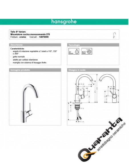 Hansgrohe Talis S² Variarc con doccetta estraibile per installazione sotto finestra